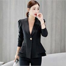 de7f18819a6a8 Blazer femenino chaquetas y abrigos chaquetas formales oficina trabajo  Notched Blazer Casaca Feminino abrigo mujer(