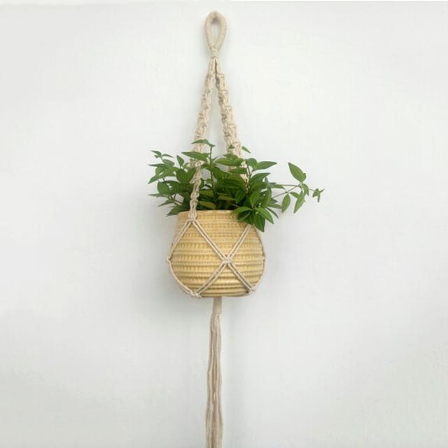 Vintage Macrame Wall Hanging Plant Hanger Rope Flowerpot Holder Handmade String Jute Rope Garden Decoration