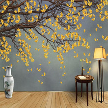 Chinese style hand-painted ginkgo background wall professional manufacturing murals wholesale wallpaper mural poster photo wall все цены