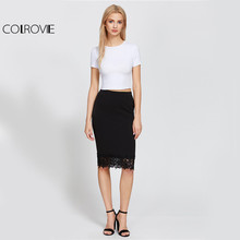 COLROVE  High Waist Floral Shape Lace Pencil Skirt