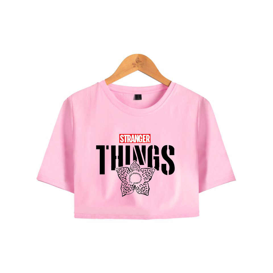 Stranger Things 3 Crop Top T-Shirt Upside Down Eleven Pink T Shirt Cropped Tops Harajuku Short Sleeve Tee Shirt Woman Clothing