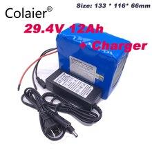 Colaier 24 v 12ah 7S6P batterie pack 15A BMS 250 w 29,4 V 12000 mAh batterie pack für rollstuhl motor elektrische 29,4 V 2A Ladegerät
