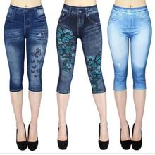 3XL Plus Size Womens Leggings Blue Fake Jean Capri pants Butterfly Printed Cropped Trousers Elastic Summer Spring Legging