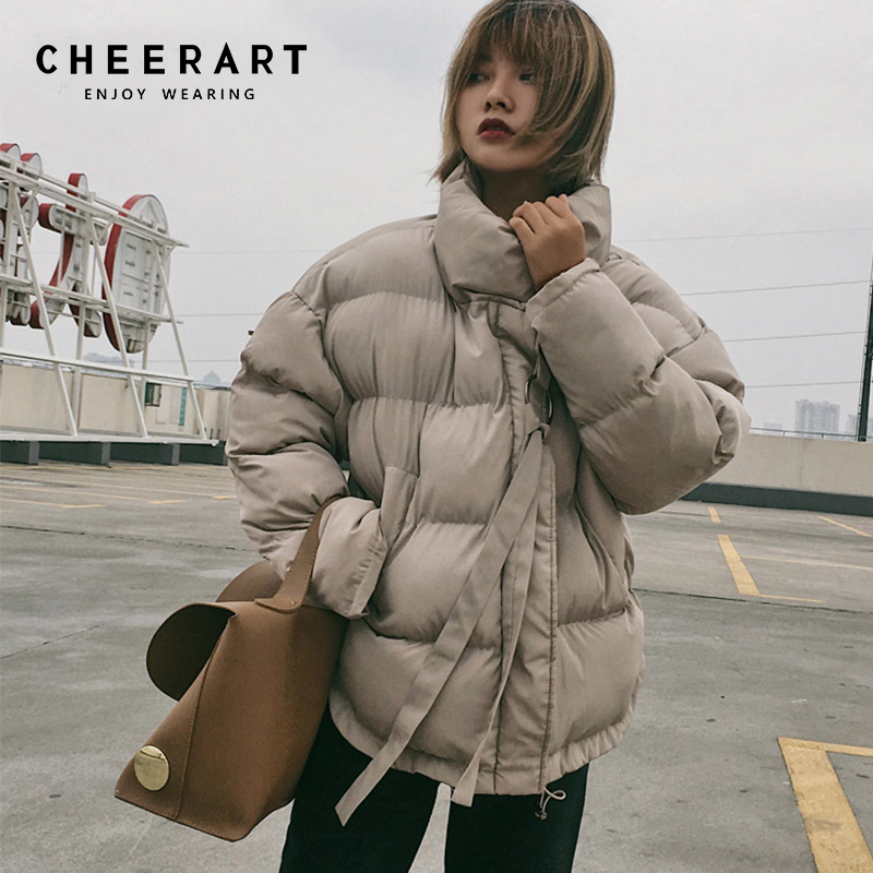 Cheerart Winter Coat Women   Parka   Down Jacket Stand Collar Anorak Thick Windbreaker Female Zipper Quilted Coat Femme Korean Style