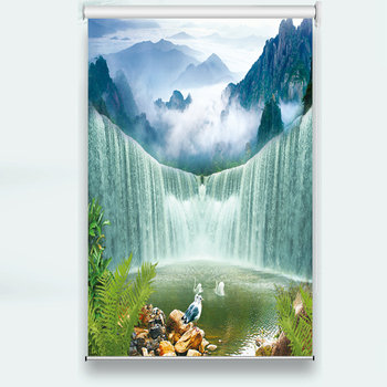 customize Waterfall scenery Living Room Roller blind Photo HD Curtains For Hotel Home Window Wall Decoration Roller blind