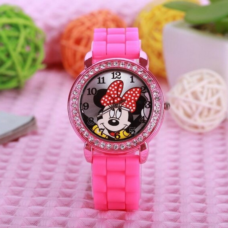 fashion minnie mouse girls Ladies women crystal Watch kids children cartoon silicone sport watches relogio feminino new 2015 led watch women kids watch fashion casual cartoon watches colorful rainbow girls