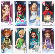 9stlyes cartoon princess Anna/Elsa/Cinderella/Mermaid/Snow white/Tinkerbell/Menida/Sofia  26-36cm action figure kid toy for gir