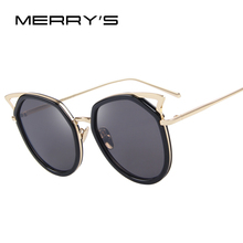 MERRY'S Fashion Women Cat Eye Sunglasses New Classic Brand Designer Sun glasses Coating Mirror Flat Panel Lens S'8043