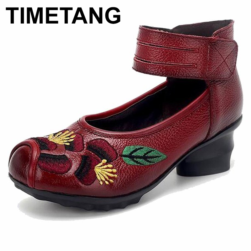 TIMETANG 2018 Spring and summer Ethnic Style Genuine Leather Handmade Shoes Women Mid Heels Pumps Round Toe High Heels майка борцовка print bar war zone