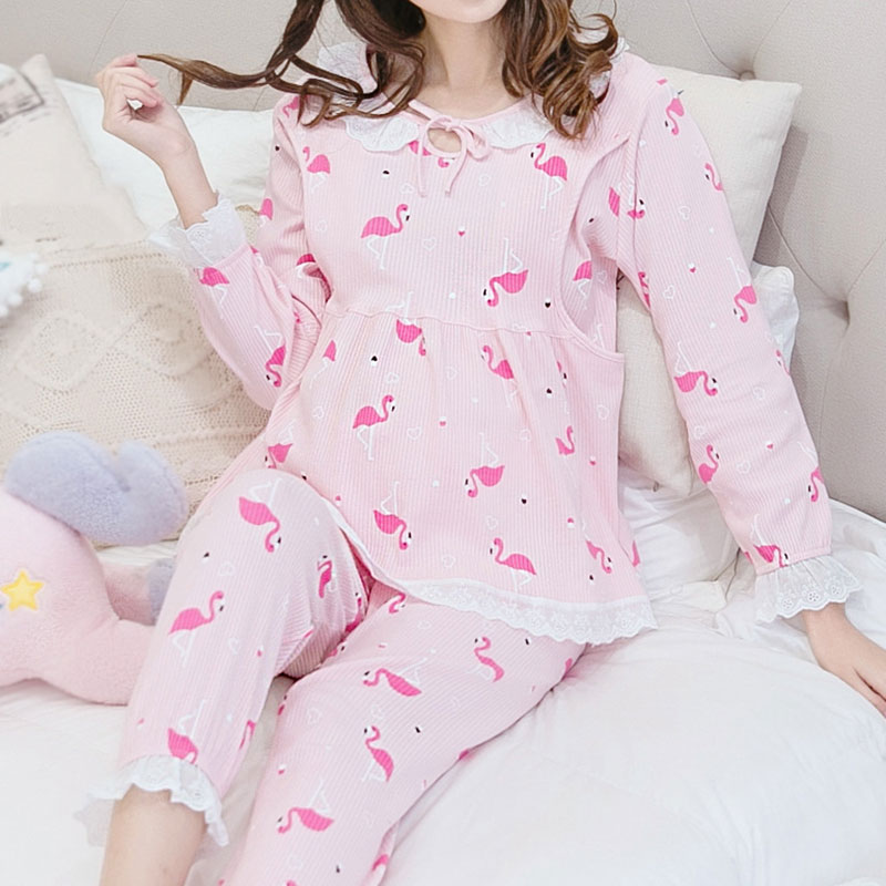 Maternity Breastfeeding clothing Summer Cotton Long-sleeve Tops+Pants Fashion Solid Button Two Pieces Pajamas cami satin two piece summer pajamas