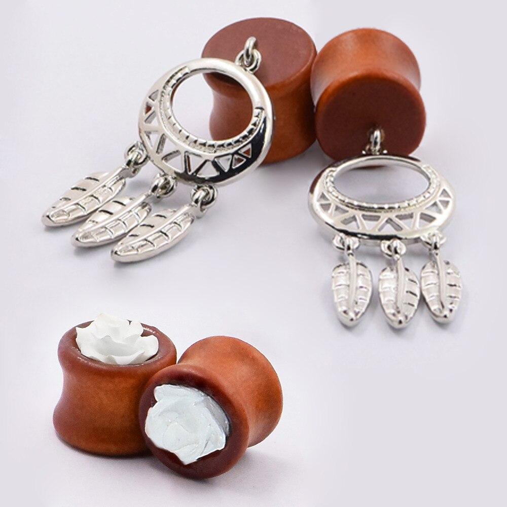 2pair Fashion Ear Pierces Tunnels Plugs Wood Ear Pendant Flower Luxury Piercing Jewelry Flesh Ear Expansions