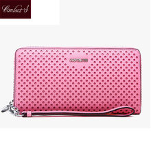 Contact's Brand New Women Zipper Travel Wallets Metal Finish Saffiano Leather Purse Ladies Clutch Bag With Wristlet-strap(China)