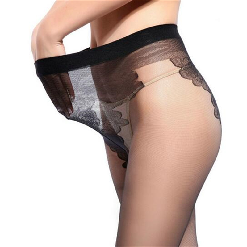 New Sexy See Through Open Crotch Oil Shiny Glossy Stockings Transparent Pantyhose T Crotch Club Dance High Elastic Tights W049