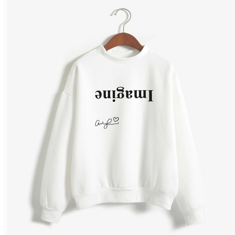 Signed Ariana Grande Inspired Imagine Hoodie Women Crewneck Thank U Next Sweatshirt Merch Long Sleeve Tops