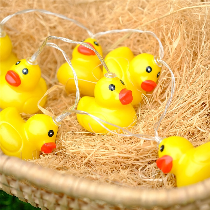 Battery In Fairy Light 20 Yellow Duck LED String Light Patio Chain Night Garland Christmas Light Kids Luminaria Decor Garland