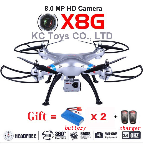 SYMA X8G Drone With Camera HD 8.0MP RC Quadcopter Helicopter Drone with Extra 2pcs Batteries and Chargers As Gift