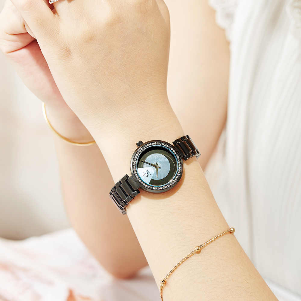 Shengke אופנה קוורץ שעון יהלומי חיוג גבירותיי שעון קלאסי נשים שעוני יד יפן תנועת שעון Drop חינם