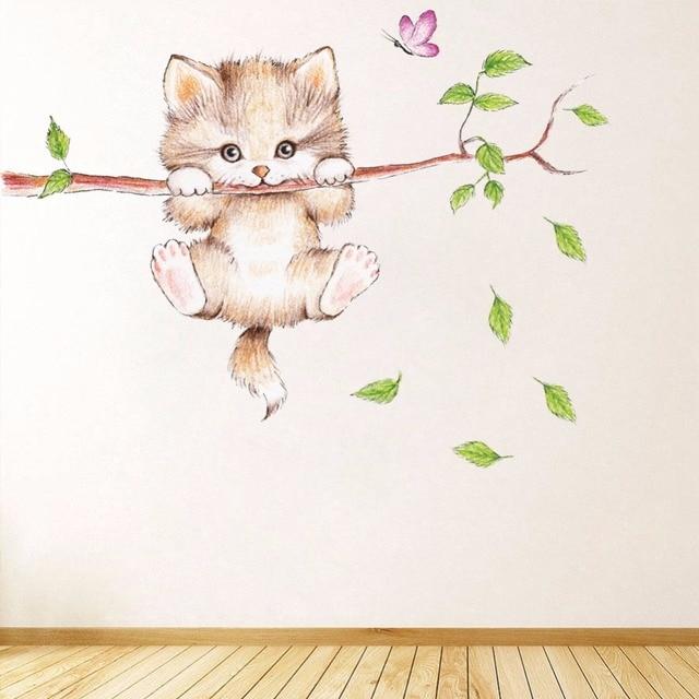 Cute Cat Wall Stickers  cute cat on tree branch vinyl wall decal stickers free  sc 1 st  AliExpress.com & Cute Cat Wall Stickers  cute cat on tree branch vinyl wall decal ...