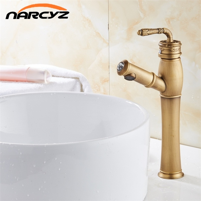 Bathroom Basin Antique Color Faucet Water Tap Pull Out Spray Nozzle Solid Br Single Handle Hot