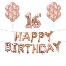 Sweet 16/18/30 birthday banners 16th birthday party decorations sweet 18 rose gold number air dots girl birthday ballon sets