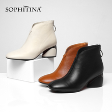 SOPHITINA Fashion Zipper Boots  Comfortable Square Toe Round Heel Women's High Cow Leather Shoes New Design Hot Sale Boots PO206 hot sale women fashion round toe leopard suede leather knee high thick heel boots elegant buckle design long boots