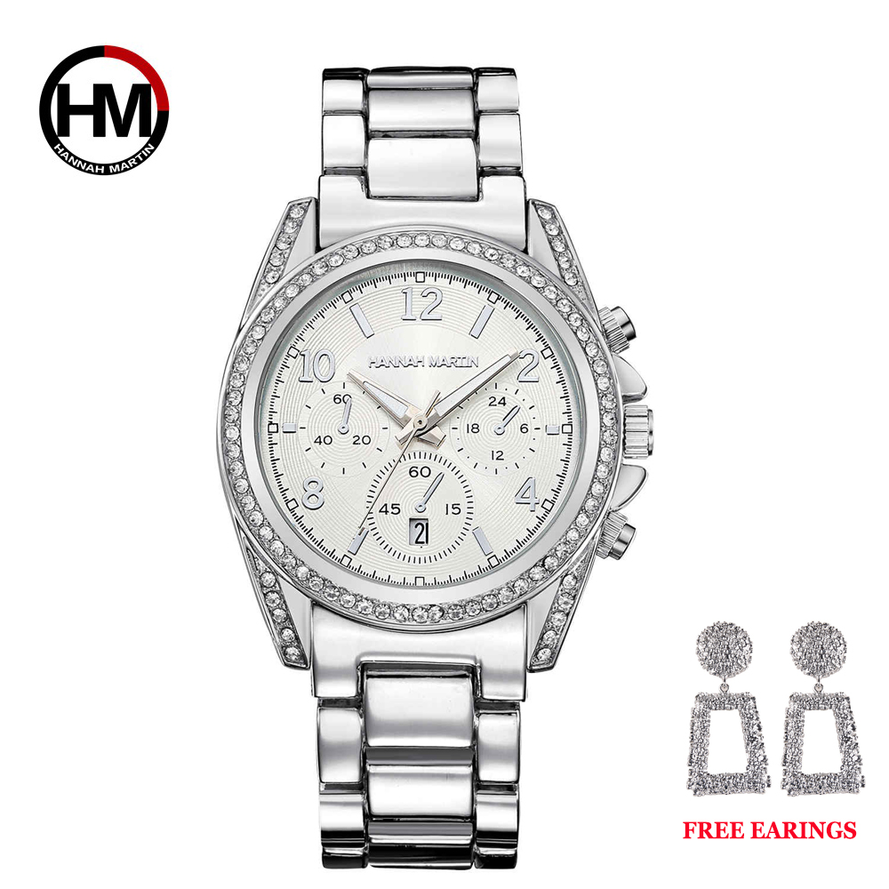 Image 4 - Drop Shipping 1 set Rose Gold Top Luxury Brand Women Rhinestone Watches Femme Calendar Waterproof Fashion Dress Ladies watch-in Women's Watches from Watches