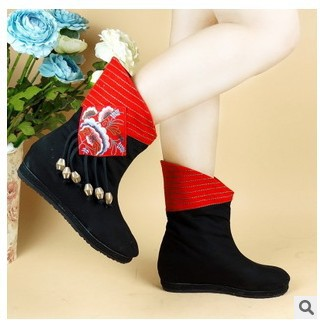 Women Autumn Winter Height Increase Elevator Chinese Style Embroidery Round Toe Pendants Fashion Ankle Boots Size 35-40 SXQ0812 scyl 2 inches height increase elevator