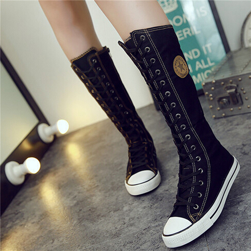 2017 New Fashion Canvas Boots Women Lace Zip Mid Calf Flats Boots Hip Hop Boots Casual