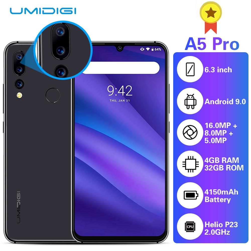 UMIDIGI A5 PRO 4G Phablet 6.3 Inch Android 9 Helio P23 ARM Mali 4GB RAM 32GB ROM 16.0MP+8.0MP+5.0MP Rear Camera Smart Cellphone