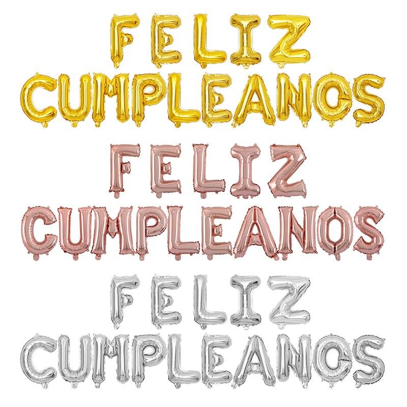 15 unids/set 16 pulgadas español Feliz cumpleaños letra alfabeto