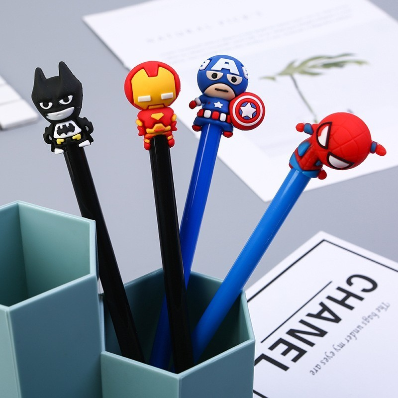 1PCS Cute New Cartoon Superhero Gel Pen Student Stationery Novelty Gift School Material Office Supplies