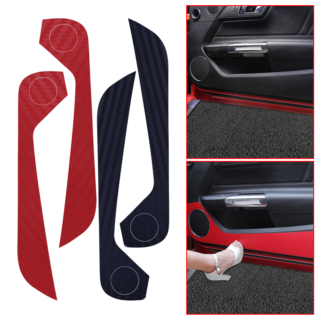 CITALL 1 Pair Car Inner Door Side Anti-Kick Sticker Decal Carbon Fiber Trim Fit For Ford Mustang 2015 2016 2017 2018