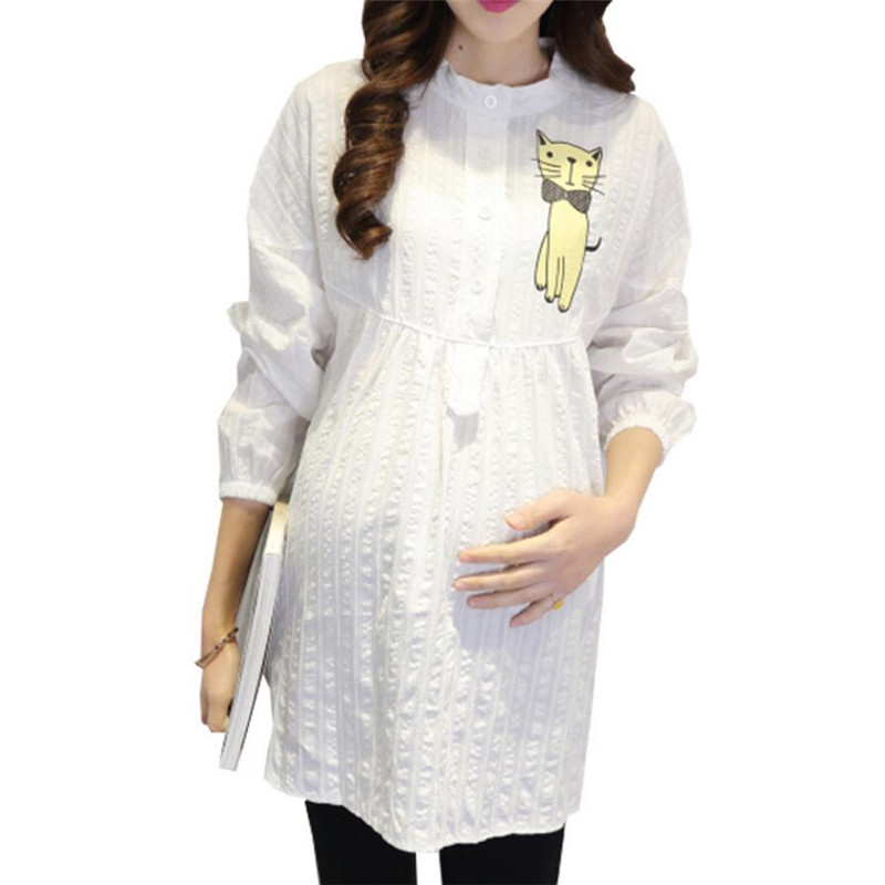 Maternity Blouses OL Cotton Shirt for Pregnant Women Maternity Clothes Pregnancy Tops Long Maternity Shirt Pregnancy Clothing