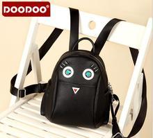 Doodoo новый женский рюкзак traval мешок милые птицы как подарок для девочек школа back pack моды черный pu кожа mujer D015