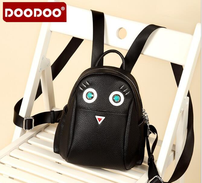 DOODOO New Women backpack Traval bag Cute Bird as Gift for Girls School back pack Fashion Black PU Leather mujer D015