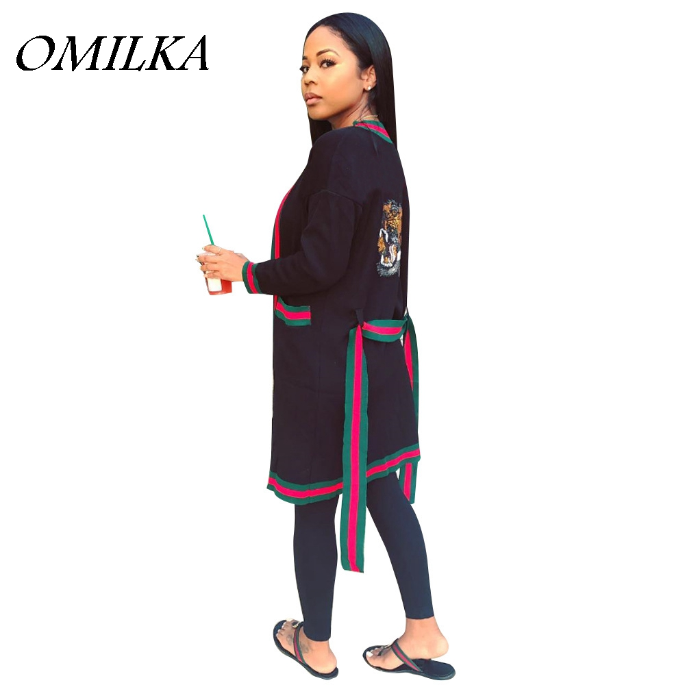 OMILKA 2019 Summer Women Long Sleeve Bandage Cardigan   Trench   Coat Casual Loose Black White Green Patchwork Bandage Outwear