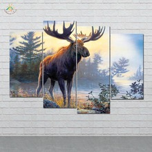 4 Pieces/set Moose Modern Canvas Picture HD Print Painting On Pictures Wall Art for Living Room