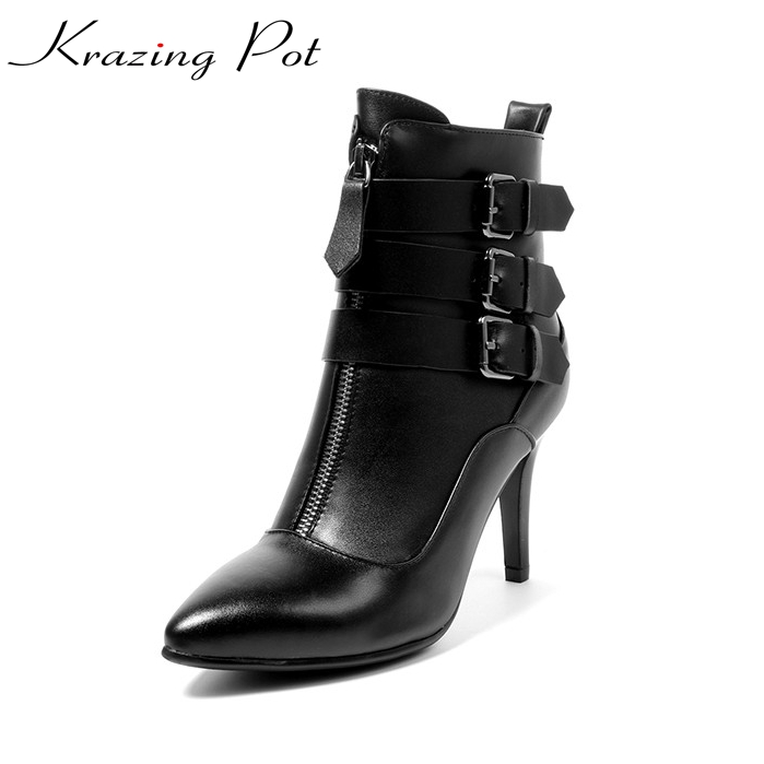 Krazing Pot cow leather high heels pointed toe boots women superstar party vintage metal buckle decoration mild-calf boots L35 women ladies flats vintage pu leather loafers pointed toe silver metal design