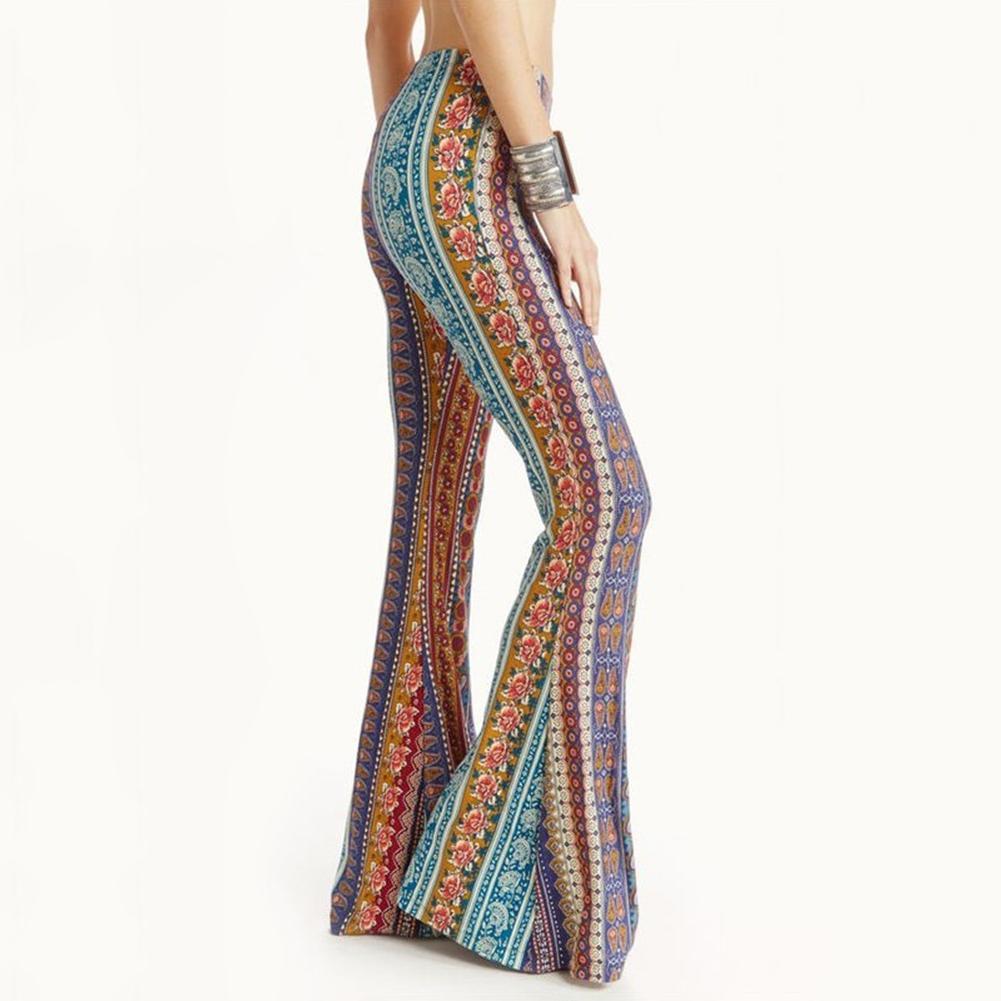 Boho Flower Print Gypsy Women Bell Bottom Loose Wide Leg Flared Long Pants hot