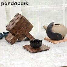 Pandapark набор из 6 ковриков для чашек и 1 холер черный орех бук изоляционные прокладки PPM005