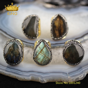 Image 2 - 5pcs Smooth Labradorite Solitaire Rings Jewelry,Random Shape sale Flash Labradorite Ring,Gold Copper Paved Rhinestone Rings YT36