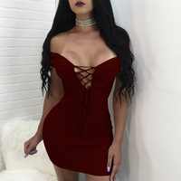 Dwayne New Women Deep V Neck Dress Sexy Dresses 2017 Evening Party Bandage Bodycon Red Blue