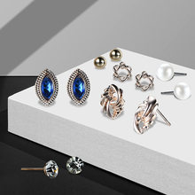 Bohemian Earring Sets 6 Pairs/Set Round Hexagraml Alloy Crystal Simulated Pearl Stud Earrings Set For Women Brincos Jewelry(China)