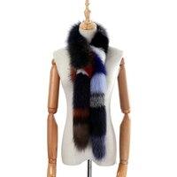 2018 Brand New Genuine Real Fox Fur Long Scarf Women's Fashion Fur Scarves Winter Wraps Fluffy Warm Luxury Scarfs Multicolor