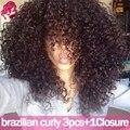 Бразильский Странный Вьющиеся Волосы Девственницы С Закрытием Brazillian Волос С Закрытие 8А Бразильского Виргинские Волос С Закрытие Deep Вьющиеся