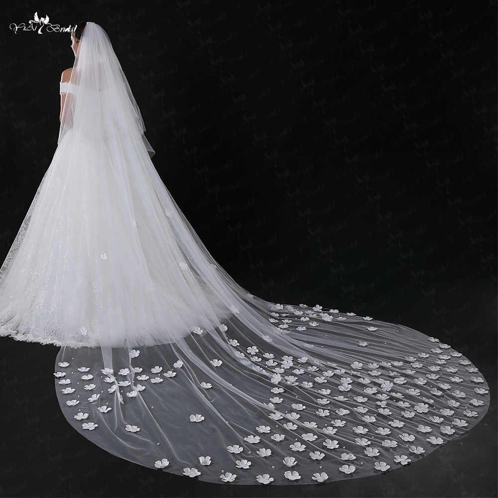 LZP031 Schleier Eine Schicht Schleier 5 Meter 3D Braut Mit Blumen