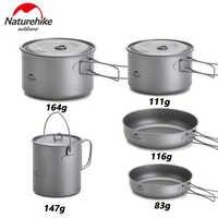 Naturehike Extérieure Titane Pot poêle à frire Tasse Tasse Ultra-léger Camping Randonnée Pique-Nique Vaisselle Ustensiles De Cuisine 800 ml 1250 ml
