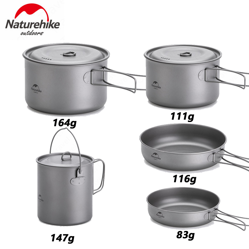 Naturehike Outdoor Titanium Pot  Frying Pan Cup Mug Ultra-light Camping Hiking Picnic Tableware Kitchenware 800ml 1250ml