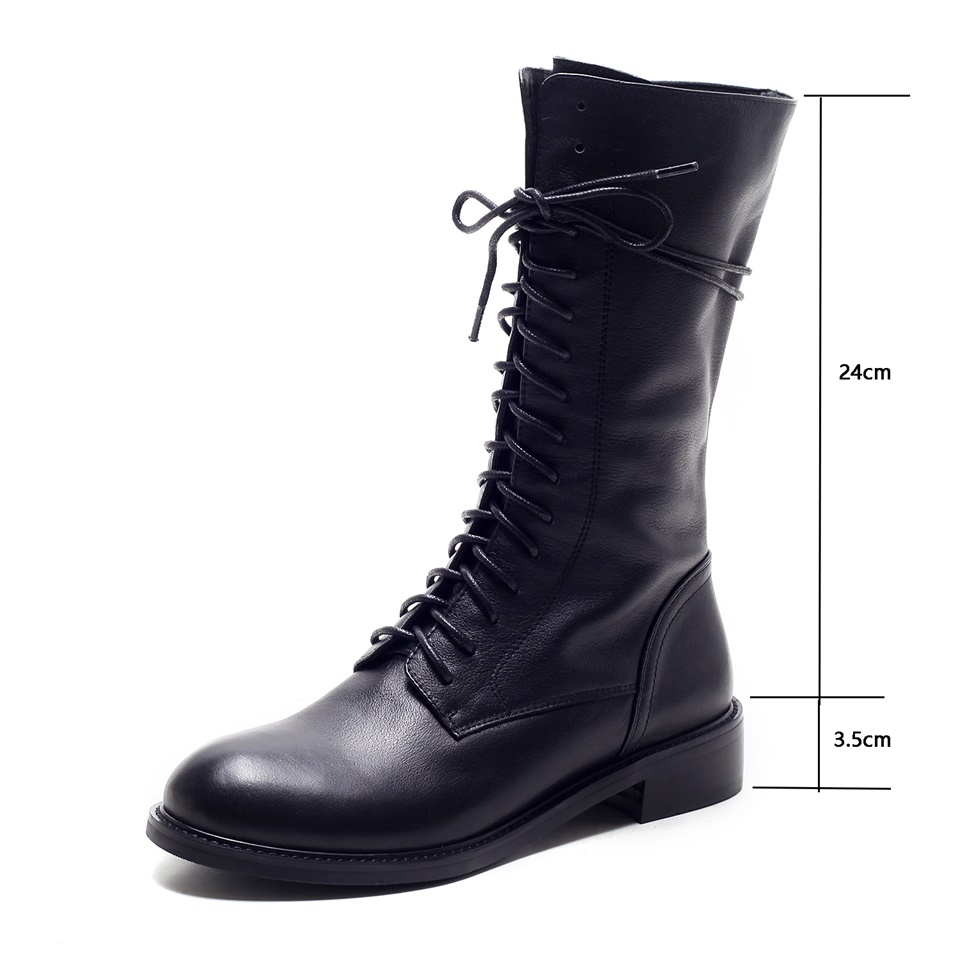 Maguidern 2018 Women Boots Really Cow Leather Fashion Lace Up Round Toe All Match Women Mid-Calf Motorcycle Boots Size 34-39 big size 34 43 advanced nubuck leather mid calf fashion round toe wedges boots for women 5 color new women boots