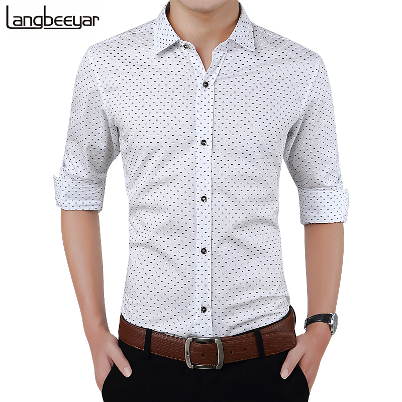 2015 New Autumn Fashion Brand Men Clothes Slim Fit Men Long Sleeve Shirt Men Polka Dot